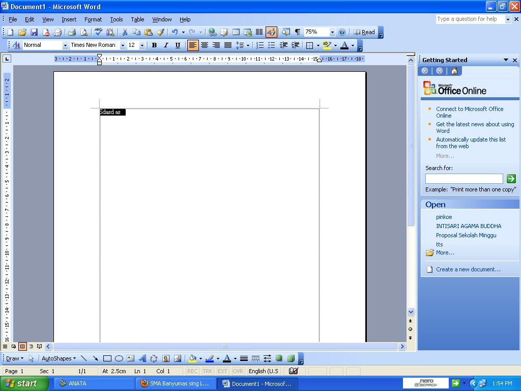 identifikasi menu dan icon ms word 2003
